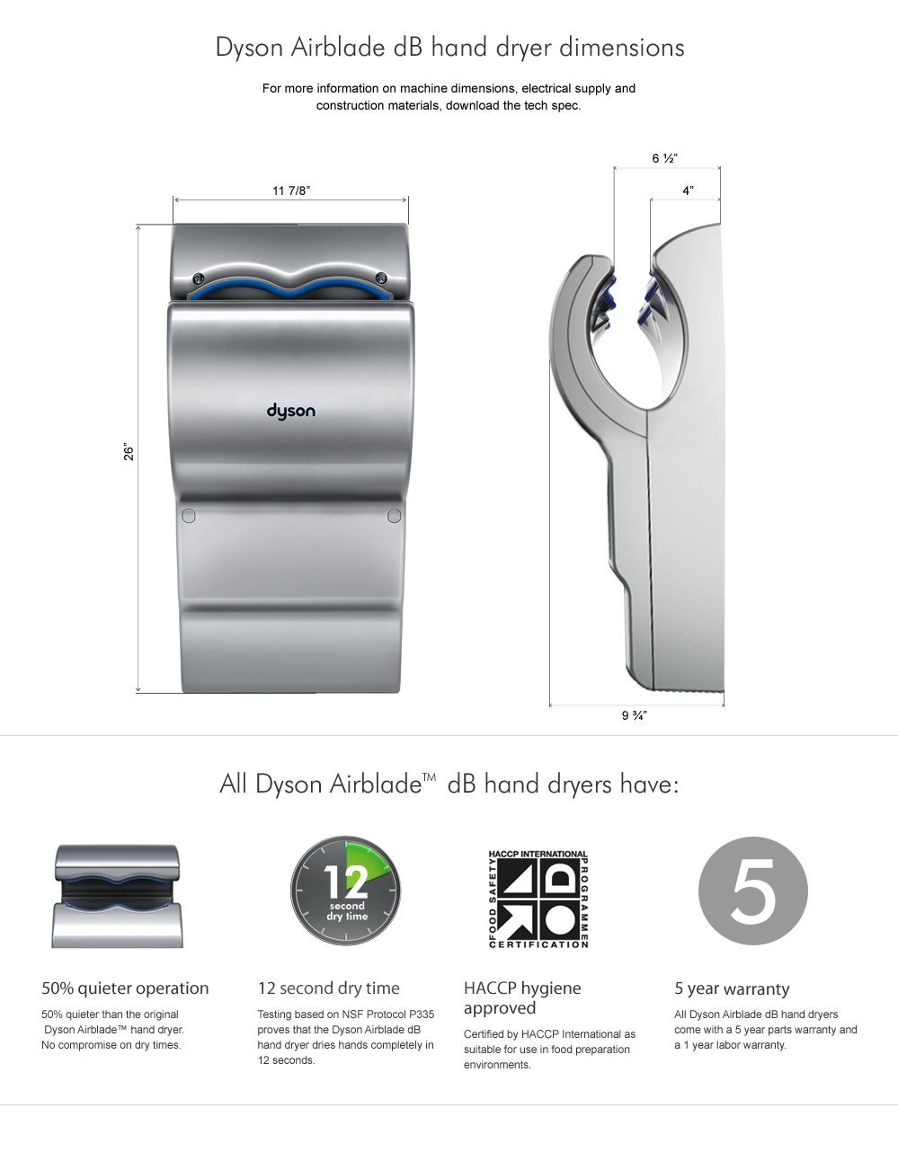dyson airblade ab14 hand dryer gray strategic supply. Black Bedroom Furniture Sets. Home Design Ideas